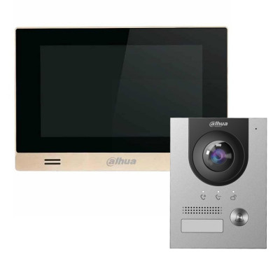 Комплект домофона Dahua DHI-VTH1550CHM-S1 + вызывная панель DHI-VTO2202F